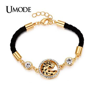 UMODE Vivid Leopard Halo Austrian Rhinestone Yellow Gold Color Double Sides Rope Bracelet