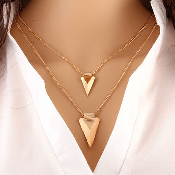Double Triangle Pendants Necklaces Women Gold Link Chain Statement Charm Jewelry Accessories Choker