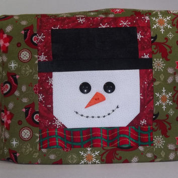 Smiling Snowman Toaster Cover - Christmas Toaster Cover - Snowman and Cardinals Toaster Cover