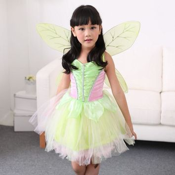 Halloween Girls Green Tinkerbell Costume Children Fairy Tinker bell Cosplay Fancy Dress With Wings S M L