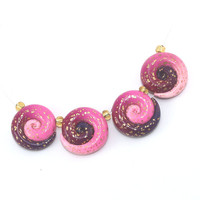Elegant gradient spiral beads, polymer Clay ombre beads in pink and purple with tiny gold dots, set of 4
