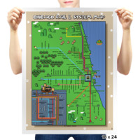Super Mario World Chicago L Train Map by tastethebacon