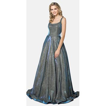 Floor Length Glitter A-line Pockets Caged Back Prom Dress Emerald Gold