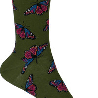 Monarchs Crew Socks in Parrot Green