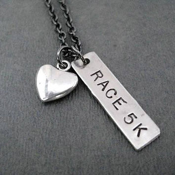 LOVE to RACE 5K with Puffed Heart - Running Jewelry - Running Necklace on Gunmetal chain - Track Jewelry - Love to Road Race - 5K Race