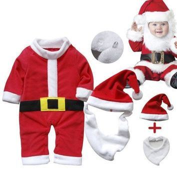 PEAPUG3 Newborn Tollder Winter Warm Outfit Santa Claus Baby Rompers Long Sleeve Christmas Costume 3pcs kids Bodysuit = 1945898500