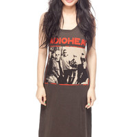 RADIOHEAD Long Dress Thom Yorke T Shirt Rock Band Women Black Tunic T-Shirt Tank Top Sleeveless Size S M L