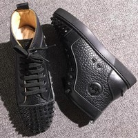 Cl Christian Louboutin Lou Spikes Style #2217 Sneakers Fashion Shoes - Best Deal Online
