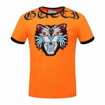 ONETOW Gucci men and women T-Shirt  orange M-3XL