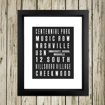 Nashville City Subway Sign Printable Instant Download Print Poster City Name Art Typography Home Decor  Wall Decor S006
