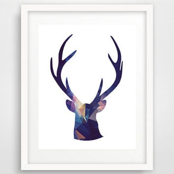 Deer head silhouette, art print, boy room decor, deer antlers, geometric art, deer, poster, printable wall art, nursery animal, home decor