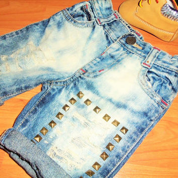 Heavily Distressed, Bleached and Studded Denim Jeans Size 0-3 months