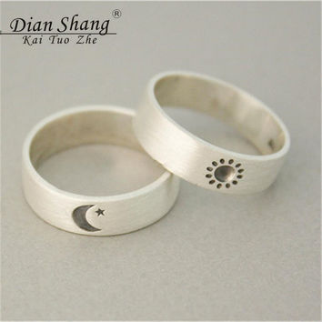 Dianshangkaituozhe 10Sets Engrave Sun Moon Fashion Ring Men Stainless Steel Wedding Ring Sets Silver Plated Anillo Femme JZ268