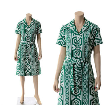 Vintage 60s Lanvin Geometric Shirt Dress 1960s Mod Green and White Atomic Floral Graphic Print Shift Belted Dress / Medium