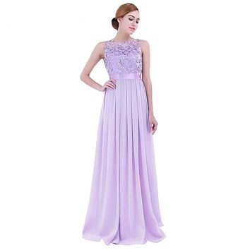Fashion Women Chiffon Embroidered Maxi Dresses Sleeveless Long Vestido De Festa Evening Prom Gown Wedding Party Long Dress