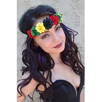 Rasta Rose Headband #C1001