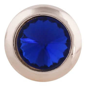 "Snap Charm Rose Gold Border Blue Stone Standard 19mm 3/4"" Diameter Fits Ginger Snaps"