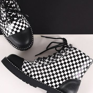 Bamboo Cap Toe Metallic Dotted Lace-Up Combat Ankle Boots