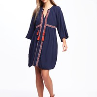Embroidered Tie-Front Swing Dress for Women | Old Navy
