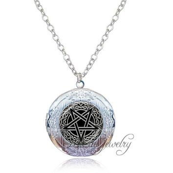 Women Men Locket Necklace Vintage Baphomet Pendant Glass Dome Pentagram Jewelry Satanism Pendant Wiccan Necklace Occult jewelry