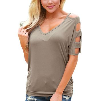 Chicloth Gray Cold Shoulder Ruched Sides T-shirt