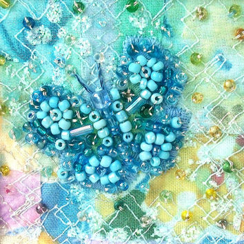 Beaded butterfly card - blue butterfly - fabric art card - patchwork card  - Mothers day card - wedding gift card