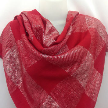 Red Square Shawl, Red Scarf, Holiday gift, Coworker Gift, Mothers Day gift Teacher, Nurse, Aunt, Godmother, Sister Red Sarong Sparkle