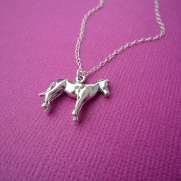 sterling pony charm necklace