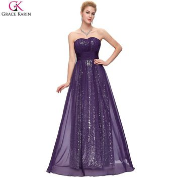 Sparkly Bridesmaid Dresses Purple Grace Karin Long Chiffon Navy Blue Formal Gowns For Wedding Party Sequin Bridesmaid Dresses