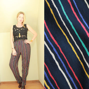 90s - Black & Primary Stripe - Striped - High Waist - Pleated - Draped - Harem - Palazzo Pants