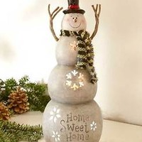 Lighted Tabletop Snowman Figurine Home Sweet Home Christmas Seasonal Home Decor