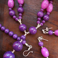 Purple Violet Jade Jewelry Set - Double Strand Pendant Necklace, Statement Jewelry, Semi Precious Gemstone with Matching Earrings