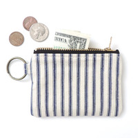 Keychain Coin Purse Wallet Zipper Pouch Recycled Ticking Stripe