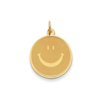14k Yellow Gold Polished & Textured Smiley Face Pendant, 20mm (3/4 in)