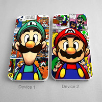 Super Mario And Luigi Game Couples Phone Case iPhone 4/4S, 5/5S, 5C Series - Hard Plastic, Rubber Case