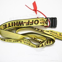 Latest version 2018 off White popular street trend belt white Tie Down Waist Yellow Nylon Industrial Iron Buckle 130cm-200cm
