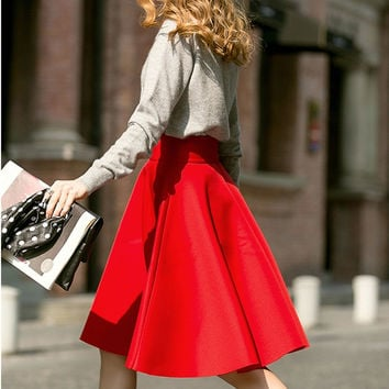 Femininas Fashion Elegant Solid Long Skirts 2015 Street Style Autumn Women's Solid Black Casual High Waist Vintage Midi Skirt