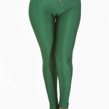 Zipper High Waist Shiny Leggings - Green