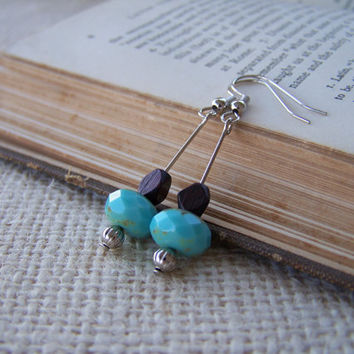 Turquoise and Wood Beaded Dangle Earrings - Handmade Earrings - OOAK