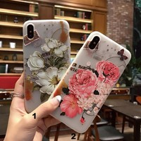 Fashion relief flower mobile phone case for iPhone X 7 7plus 8 8plus iPhone6 6s plus -171121