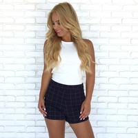 Penelope Navy Grid Shorts