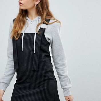 Pull&Bear Stripe Pinafore at asos.com