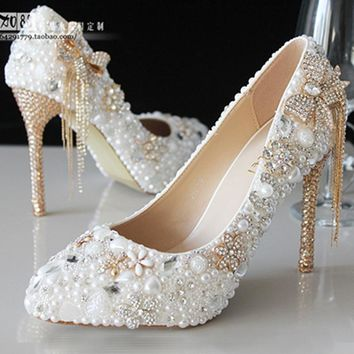 Spring summer autumn winter new crystal pearl diamond wedding shoes shoes bride shoes handmade shoes white fine pointed heels
