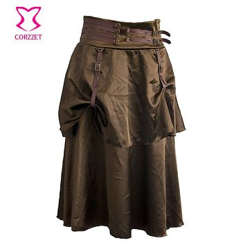 Brown Satin With Leather Buckle 2 Layers Long Steampunk Skirt Sexy Gothic