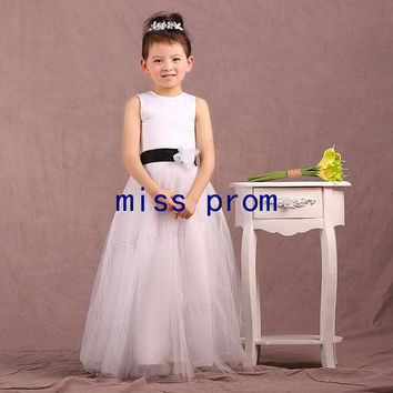 Beach tulle and satin with sash flowers zipper back flower girl dress