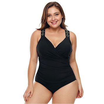 Plus Black Ruched One-Piece Swimsuit