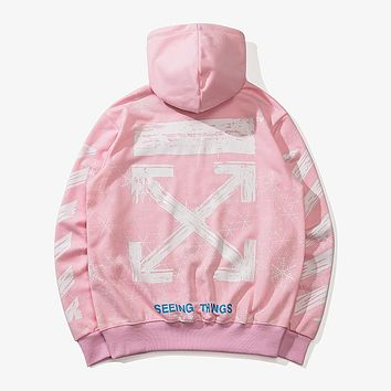 OFF-WHITE Autumn and Winter Tide brand Snowflake Arrow Hooded Turtleneck Sweater Pink