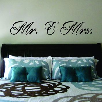 Mr and Mrs Wall Decal Sticker Vinyl Art Bedroom Living Room Decor Decoration Teen Quote Inspirational Marriage Married Husband Wife Newly Wed Family King Queen