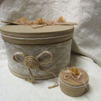 Romantic Vintage Wedding Card Box Ring Box Lace Pearls Burlap Flower Bunting