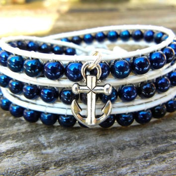 Beaded Leather Wrap Bracelet 3 Wrap with Navy Blue Czech Glass Beads on White Leather with Silver Anchor Charm Nautical